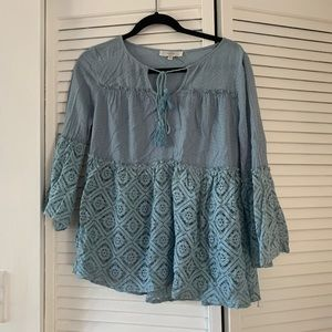 Light Blue Lace Baby Doll Blouse